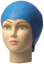 Comair Strähnenhaube Latex blau mit Lochstanzung